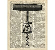 Vintage Corkscrew  Over Old Encyclopedia Page Photographic Print