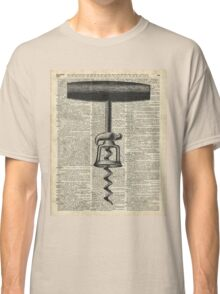 Vintage Corkscrew  Over Old Encyclopedia Page Classic T-Shirt
