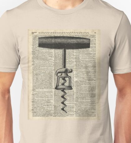 Vintage Corkscrew  Over Old Encyclopedia Page Unisex T-Shirt