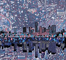 Austin texas skyline abstract 5 by BekimART