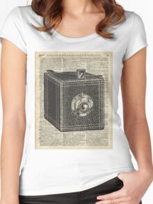 Antique Cube Camera Over Old Encyclopedia Page Women's Fitted Scoop T-Shirt