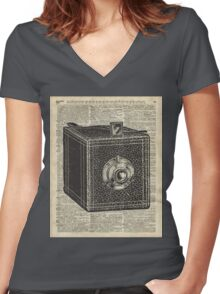 Antique Cube Camera Over Old Encyclopedia Page Women's Fitted V-Neck T-Shirt