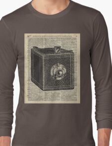 Antique Cube Camera Over Old Encyclopedia Page Long Sleeve T-Shirt