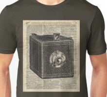 Antique Cube Camera Over Old Encyclopedia Page Unisex T-Shirt