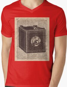 Antique Cube Camera Over Old Encyclopedia Page Mens V-Neck T-Shirt