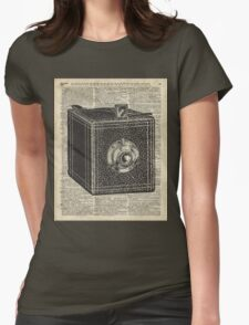 Antique Cube Camera Over Old Encyclopedia Page Womens Fitted T-Shirt