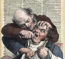 Dentist pulling teeth over old dictionary page by DictionaryArt
