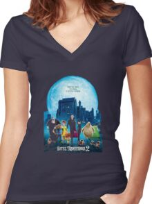the monsters are back hotel transylvania 2 Women's Fitted V-Neck T-Shirt