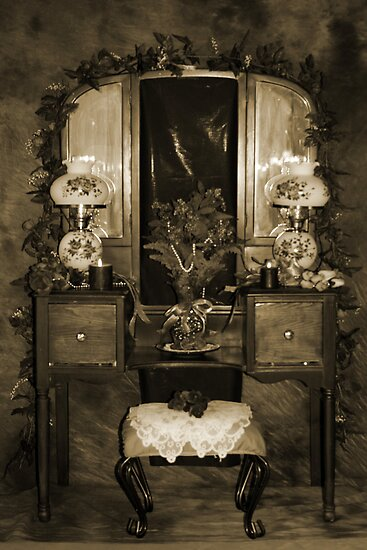 Antique Dressing Room Table - Sepia by Sherry Hallemeier