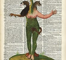 Hybrid Monstrum over Old Encyclopedia Book Page by DictionaryArt