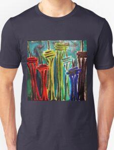 Rainbow Seattle Space Needles Unisex T-Shirt