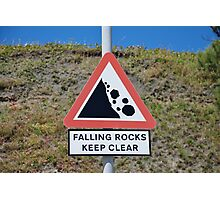 Falling rocks sign, Folkestone Photographic Print