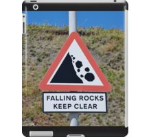 Falling rocks sign, Folkestone iPad Case/Skin