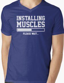 INSTALLING MUSCLES FUNNY PRINTED MENS TSHIRT GYM LIFT BRO WORKOUT NOVELTY SLOGAN Mens V-Neck T-Shirt