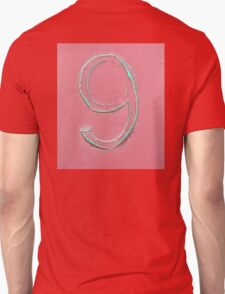 9, NUMBER 9, NINE, FADED, CURLED, NINTH, Turquoise, Dusky, Pink,  Unisex T-Shirt