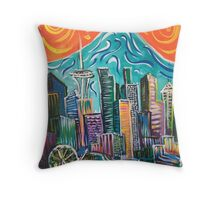 Seattle Skyline by David Johansson Throw Pillow
