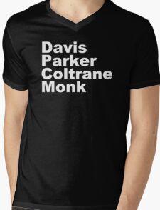 JAZZ PLAYERS NAMES T SHIRT MILES DAVIS MONK VINYL PARKER Mens V-Neck T-Shirt
