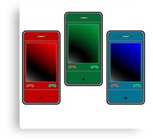 colored mobile phones against white Canvas Print