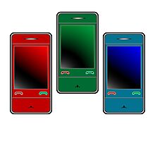 colored mobile phones against white Photographic Print