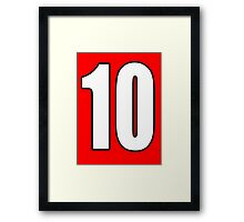 Football, Soccer, 10, Ten, Tenth, Number Ten, Team, Number, Red, Devils Framed Print