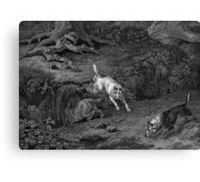 Terriers Black & White Dog Art Canvas Print