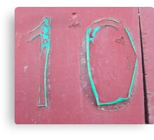 10, NUMBER 10, Ten, Tenth, turquoise, pink, Canvas Print