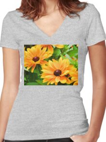 Dedicated To Ann- Choc Centered Daisies Women's Fitted V-Neck T-Shirt