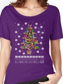 all I want for christmas is FOOD - ugly christmas sweater - christmas tree Women's Relaxed Fit T-Shirt