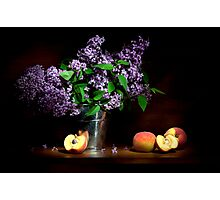 Lilac and peaches Still life Photographic Print