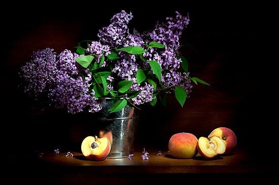 Lilac and peaches Still life by Ondřej Smolka