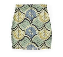 Retro Art Deco Feathers and Leaves Mini Skirt