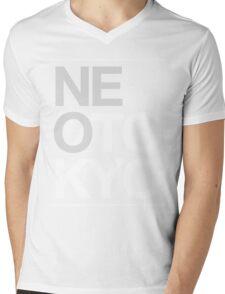Stacked White Mens V-Neck T-Shirt