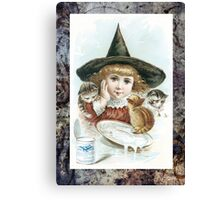 Vintage Halloween Girl Witch Hat Cat Canvas Print