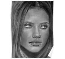 Adriana Lima 2 Pencil Drawing Poster