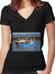Folkestone harbour, England Women's Fitted V-Neck T-Shirt