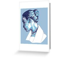 Cameo Portrait of Woman in Blue Greeting Card