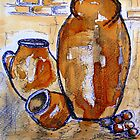 Only three jars (painted with coffee) by Elizabeth Kendall