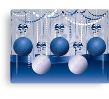 Blue and White Xmas Balls 2 Canvas Print