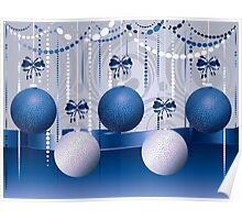 Blue and White Xmas Balls 2 Poster