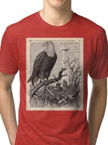 Eagle and its nest over encyclopedia page Tri-blend T-Shirt