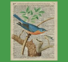 Eastern Blue Birds Canary Over Old Book Page  Kids Tee