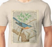 Eastern Blue Birds Canary Over Old Book Page  Unisex T-Shirt