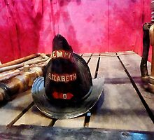 Fire Helmet in Fire Truck by Susan Savad