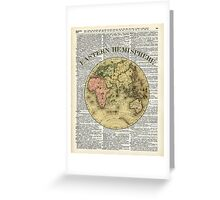 Eastern Hemisphere Earth Vintage  Map Dictionary Art Greeting Card