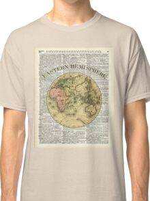 Eastern Hemisphere Earth map over dictionary page Classic T-Shirt