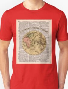 Eastern Hemisphere Earth map over dictionary page T-Shirt