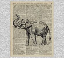 Vintage Illustration Of Happy Elephant over Old Dictionary Book Page  Kids Tee