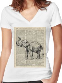 Vintage Illustration Of Happy Elephant over Old Dictionary Book Page  Women's Fitted V-Neck T-Shirt