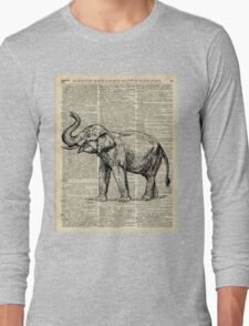 Vintage Illustration Of Happy Elephant over Old Dictionary Book Page  Long Sleeve T-Shirt