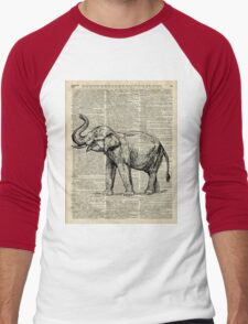 Vintage Illustration Of Happy Elephant over Old Dictionary Book Page  Men's Baseball ¾ T-Shirt